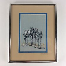 ZEBRAS GRAZING ARTWORK DRAWING artist signed G Cicotte 1992 Animal framed matted