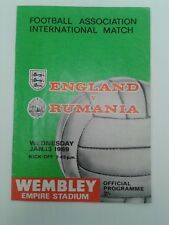ENGLAND V RUMANIA FOOTBALL PROGRAMME  JAN 1969