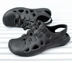 Mens EVA Beach Sandals Lightweight Cut Out Summer Shoes Closed Toe Gray US10
