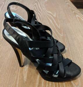 White House Black Market 7.5M Black Satin Heels Open Toe Strappy Shoe Sandal