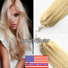 Micro Ring Beads Loop Tip Remy Human Hair Extensions Medium Blonde20Inch50cm200S
