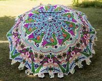 Garten Sonnenschirm Pfau Bestickt Indisch Außen Sonnenschirm Terrasse Schirm