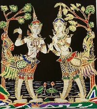 Thai Art Silk Kinnaree and Kinnorn Painting Poster Print Home Decor Handmade
