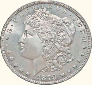 1879 S HIGH MINT STATE SPL MORGAN SILVER DOLLAR - FROSTY BU MS+