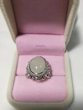 Certified 8CT HeTian suet white Jade sterling silver Ring adjustable size