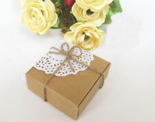 12x Brown Kraft Paper Gift Boxes -Party Wedding Favour Bomboniere Boxes-Square