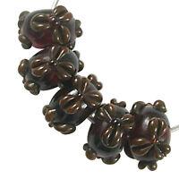 Trez Handmade Glass Lampwork Beads (Set of 10; Small Hole 1.5mm) Flower 143
