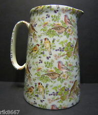 Heron Cross Pottery Bird Chintz Blue B/G 4 Pint English Milk Jug very big (vase)
