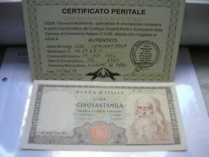 50.000 Lire Leonardo da Vinci 1970  periziata
