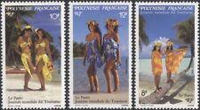 French Polynesia 1993 World Tourism Day/Women/Palm Trees/Beach 3v set (n45313f)