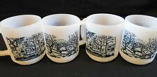 4 Glasbake Mugs  Horse Wagon & Farm Scene and Dogwoood Microwave Safe Milk Glass
