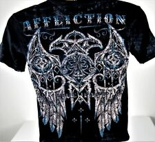 Affliction T-Shirt Distressed Look Size Small Dragon Wings Live Fast