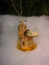 Scottish Fold brown tabby Cat Angel Ornament Hand Painted Figurine Christmas New