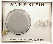 Anne Klein Goldtone Clear Set Stone Stud Earrings Travel Jewelry Case Gift Set