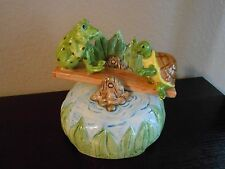 OTAGIRI FROG &TURTLE SEE SAW MUSIC BOX 'I'M SITTING ON TOP OF THE WORLD' RETIRED