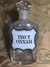 Antique French APOTHECARY FACETED GLASS BOTTLE LABEL: TINCT. CINNAM.