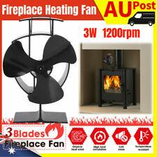 3w 3-blades Fireplace Fan Thermal Fire Heater Wood Stove Fan Household Blower AU