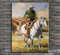 original oil painting, palette knife painting , cowboy painting,horse painting