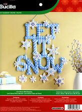 Bucilla Let It Snow ~ Felt Christmas Wall Hanging Kit #86586 Blue Snowflakes New