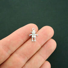 6 Robot Charms Antique Silver Tone With Inset Rhinestones - So Cute - SC7246