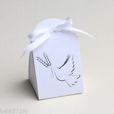 Lot de 10 boites à dragées iris communion Colombe blanc avec ruban