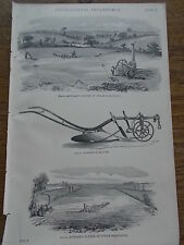 c19th c1870 Engraving Print Plate of Agricultural Implements Steam Ploughing