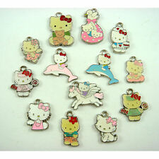 NEW 10 pcs Mix Jewelry Making Metal Figures Pendant Charms For Hello Kitty +GIFT