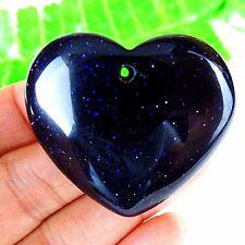 Beautiful 1Pcs Unique Blue Gold Sand Stone Peach Heart Pendant Bead DD432