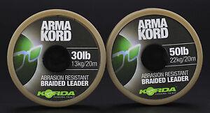Korda Arma Kord 30lb 50lb Brown Braided Leader Carp Coarse Match Fishing Line