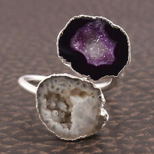 Silver Plated Rings For Women Girls Natural Dark Blue Of-White Geode Druzy