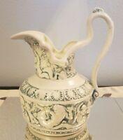 Vintage Greek Mythology Poseidon Mermaids Merman Cherub 3D Pitcher
