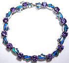 Amethyst & Blue Fire Opal Solid 925 Sterling Silver Link Tennis Bracelet 7''