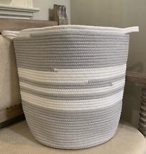 NEW Pottery Barn Kids Cotton Rope Hamper GRAY WHITE