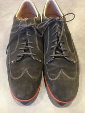 Fossil Mens Wingtip Oxford Dress Shoes Brown Suede Leather Lace Loafers Sz 13