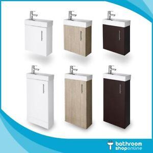 400mm Bathroom Vanity Unit Cloakroom Basin Sink Compact Wall Hung Floor Standing