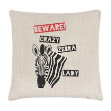Tenga cuidado con Crazy Cebra Dama Lino Cubierta para Cojín Almohada-Divertido Zoológico Safari