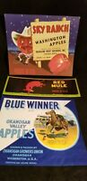 THREE Vintage Vegetable / Fruit Crate Labels: Blue Winner, Red Mule,Sky Ranch ES