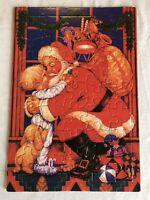Vintage SANTA CLAUS Christmas Hug Tray Puzzle Toys Puppy Art