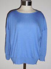 Polo Ralph Lauren Women's Blue Drop Sleeve Boxy Sweater Hi Low Hem L NWT $98