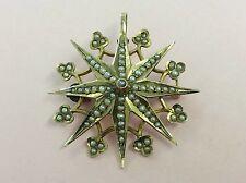 Antiguo Oro 10CT & Perla semilla Starburst Colgante Broche Pin 1880