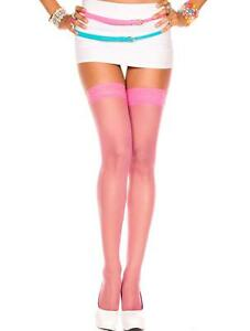 SHEER THIGH HI, STOCKING WITH LACE TOP COMES IN MANY COLORS ONE & PLUS SIZE