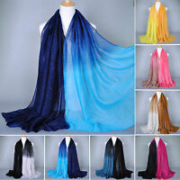 Women Ombre Shade Voile Scarf Ladies Long Soft Stole Shawl Wrap Scarves Hijab