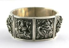 Antique Victorian Anglo Indian Silver Repousse Deities Cuff Bracelet 87g