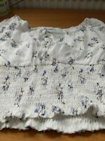 Wild Honey Top With Smocked Waist In Vintage Floral/White Size Small Ladies Top
