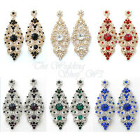 LONG CHANDELIER DIAMANTE CRYSTAL EARRINGS DROP DANGLING SILVER GOLD COLOURS E04