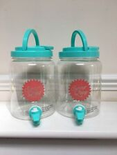2 Litre Plastic Drinks Water Juice Dispenser Container with Tap (Set of 2)