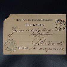 ALLEMAGNE LETTRE COVER POSTKARTE CAD BERLIN 1877