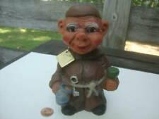 Vintage Drinking Happy Monk Friar Nodder Heico Germany Tag Bobblehead Troll Hair