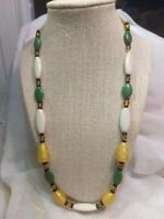 Vtg Swirled Frosted Art Glass Bead Yellow White Green Geometric Necklace Strand