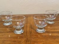 "CRATE & BARREL 4 Clear Thick Stem Footed Wine Glass Goblets 4"" Tall x 4"" Wide"